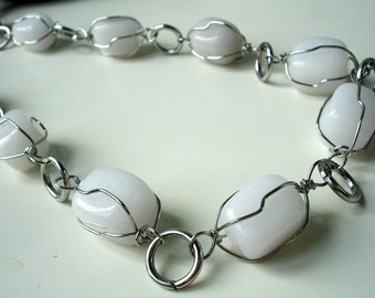 Wire wrapped white jade necklace