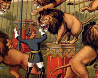 LIONS and Lion Tamer Vintage Circus Poster Print -  Poster Size Vintage Book Plate