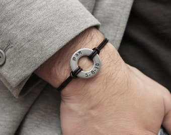 Set of 2 Couples Bracelet, Personalized Washer Bracelet, Custom His Hers Bracelet, Matching Couple Bracelet, Anniversary gift for Boyfriend