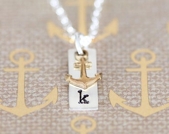 Dainty Anchor Necklace, Personalize Anchor Necklace, Golden Anchor Necklace, Sterling Silver Nautical Jewelry, Initial