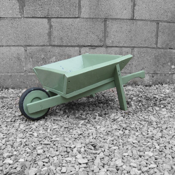 Garden Wheel Barrow Vintage Planter Old Traditional Wooden Green