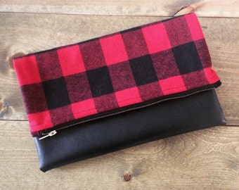 Buffalo Check  & Black Faux Leather Foldover Clutch - Gift for her, Birthday, Anniversary, Bridesmaid