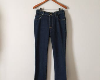 EXPRESS BLUES skinny bootcut high waisted jeans // midnight blue jeans // 1990s bootcut jeans