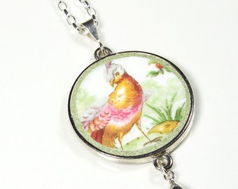 Vintage Bird Broken China Necklace on Sterling Rolo Chain