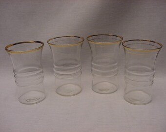 Vintage Set (4) Anchor Hocking 3328 Gold Tumblers 1940's Glasses