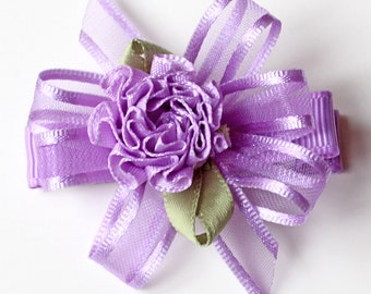 Fancy Lavender Hair Bows. Baby Toddler Hair Clips With Non-Slip Grip. Girls Hair Bow Set of 2. Purple Sheer Organza Bows With Ribbon Flowers