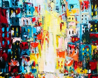 City lights abstract; Original palette knife abstract painting on canvas