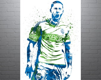 Clint Dempsey Seattle Sounders, USA Soccer, Sports Art Print, Soccer Poster, Football Poster, Watercolor Abstract Drawing Print, Modern Art