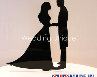 Wedding cake topper propoal silhouette proposal bride and groom, couple, personalised cake topper