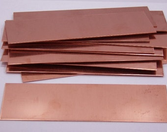 Copper Sheet Bracelet Blanks 16ga 6 in. x 2 in. Package Of 12