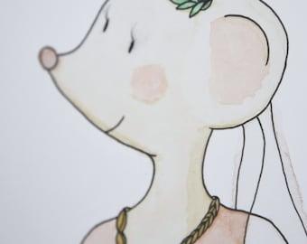 Nursery Animal Print. Watercolor Mouse Illustration. Watercolor illustration: Louisette mouse.