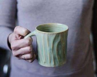 Green Pottery Mug, Coffee Gift, Husband Gift, Ceramic Mug, Anniversary Gift, Irish Mug, Foodie Gift, Handmade Ceramic Mug, Pottery Mug
