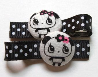 Black and White Pandas..........Button Hair Clips