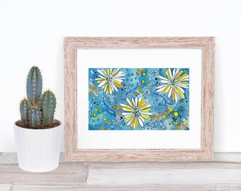 Blue Daisies - 5x7 Giclee Print of Watercolor Art