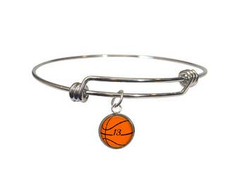 Basketball Bracelet, Personalized Adjustable Bangle, Gift, Basketball Mom, Team Gift, Sports Jewelry, Basketball Girl, Number Jewelry