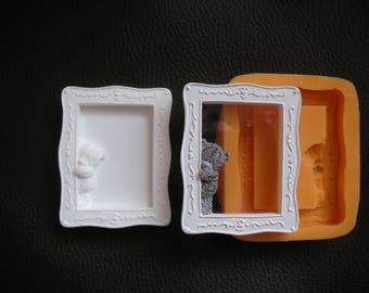 Silicone mold Rectangle frame mold Frame bear Sugarcraft Cake Decorating mold clay mold Teddy bear mold