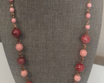 "22"" Unique Rose  and Pink Agate Necklace copper components"