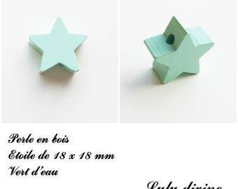 18 x 18 mm wooden bead, bead flat Star: sea green