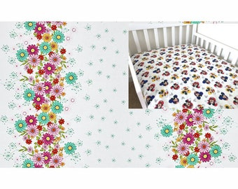 Cotton Floral Fitted Crib Sheet Pink Aqua Floral Daisy Nursery Changing Pad Cover