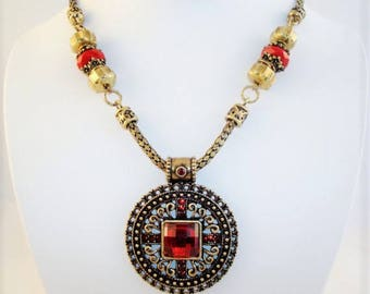 Lovely Brass Tone Red Necklace Earrings Set