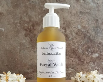 Organic Agave Facial Wash, Vegan Raw Blue Agave Facial Cleanser, Anti Aging Face Wash, Natural Cleansing Soap, Moisturizing Facial Cleanser