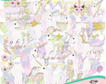 Unicorns Fantasy Clipart instant download PNG file - 300 dpi