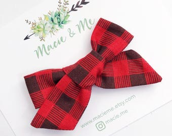 Red and Black Gingham Plaid Hair Bow