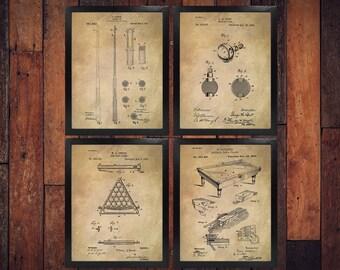 Pool Billiard Patents (Set of 4) Inventions / Billiards Wall Art Poster / Billiards Room Patent / Pool Room Patent Poster (DOWNLOAD)