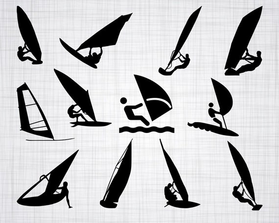 Windsurfing SVG Wind Surfing Clipart Cut Files For Silhouette Cricut Vector Svg Dxf Png Decal From Pixelence