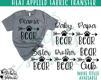IRON On v232-M  Mama Papa Baby Brother Sister Bear Paw Heat Applied  T-Shirt Transfer *Specify Color Choice in Notes or BLACK VINYL
