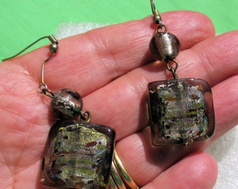 Retro Dichroic Glass Dangling Pierced Earrings