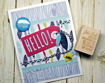 Urban Chic Feathers Well Hello There Thinking of You Fancy Greeting Card Handmade for Friend Brother Dad Sister Mom Daughter Son Coworker