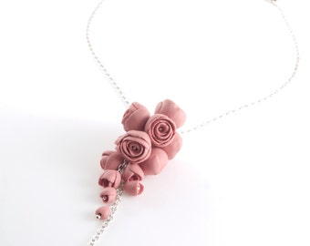 El Paso - Dark Pink  Flower Statement Necklace, Sterling Silver Necklace Long Pendant with Porcelain Flowers