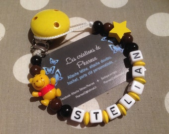 Pacifier lollipop personalized with name winnie the Pooh star yellow black and Brown