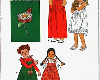 Butterick 5920 Girl's Pillowcase Dress, Applique Transfer, Back Elastic Gathered, Tie Strap Play Dress, Sewing Pattern Size 6 Vintage 1970's
