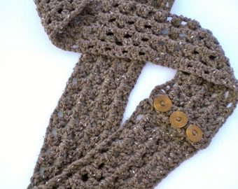 Scarf Infinity Brown Barley Cowl Bulky Buttoned