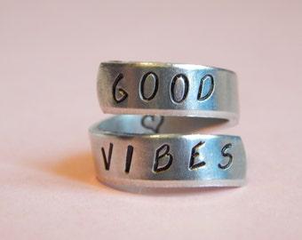 Good Vibes Aluminum Ring Heart Inside Inspirational Gift