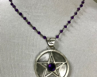 Pentacle of Protection:  Faceted Amethyst Cabochon set in Fine Silver and Sterling Silver on a Darkened Sterling Amethyst Chain