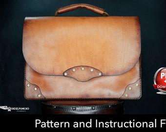 Briefcase Pattern - Leather DIY - Pdf Download - Leather Pattern - Briefcase Template - Leather Bag Pattern - Bag Template - Business Bag