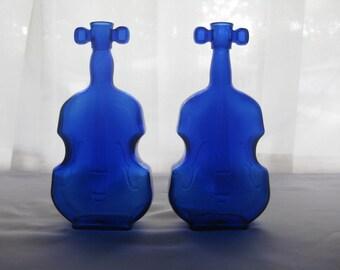 Cobalt Blue Glass Violin Cello Fiddle (set of 2) / Pair of Cobalt Blue Glass Violins / Vintage Cobalt Violin Bottle # 4 / Fiddle Bottle