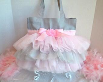 Pink & Gray Tutu Tote Bag - Tutu Tote Dance Bag - Tutu Bag