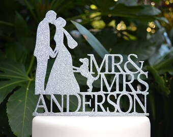 Mr & Mrs Wedding Cake Topper  - Bride and Groom and Dog Personalized