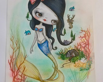 Snow White mermaid girl art painting mixed media art mermay undersea forest fairy tale