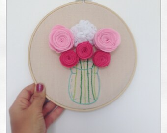 Embroidered Vase With Felt Flowers, Hand Embroidered Hoop On Linen, Contemporary Embroidery, Wall Hanging