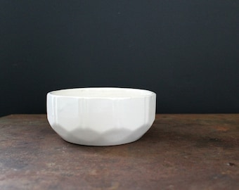 Vintage Off White Ceramic Geometric Bowl