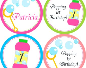 Bubble Party Circles - Pink Blue Lime Coral Bubble Circles, Fun Pink Blowing Bubbles Birthday Party Circles - Digital Printable File
