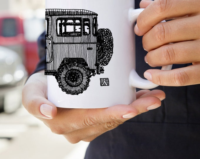 KillerBeeMoto: U.S. Made Coffe Mug With Hand Drawn Graphic Of Vintage Japanese SUV