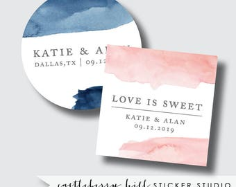 Watercolor custom stickers, personalized sticker, customized stickers, watercolor favor tags navy and blush sticker blush label navy sticker