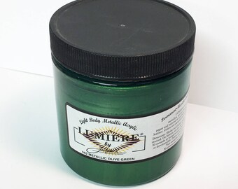 Lumiere Metallic Olive Green 562 - 8 oz Size - Brilliant Light Body Metallic Acrylic Paint - Art Craft Fabric Canvas Wood Paper Metal Pearl