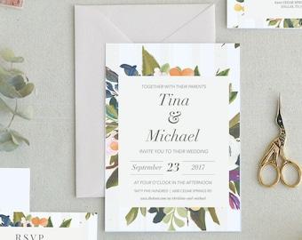 Rustic Wedding Invitation. Printable Wedding Invitations. Invitation Template. Spring Floral Wedding Invitations. Botanical Wedding. I-7